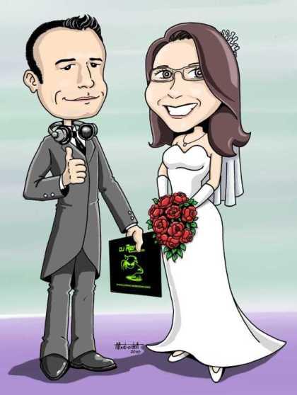 Caricatura noivos Vanessa Reinaldo