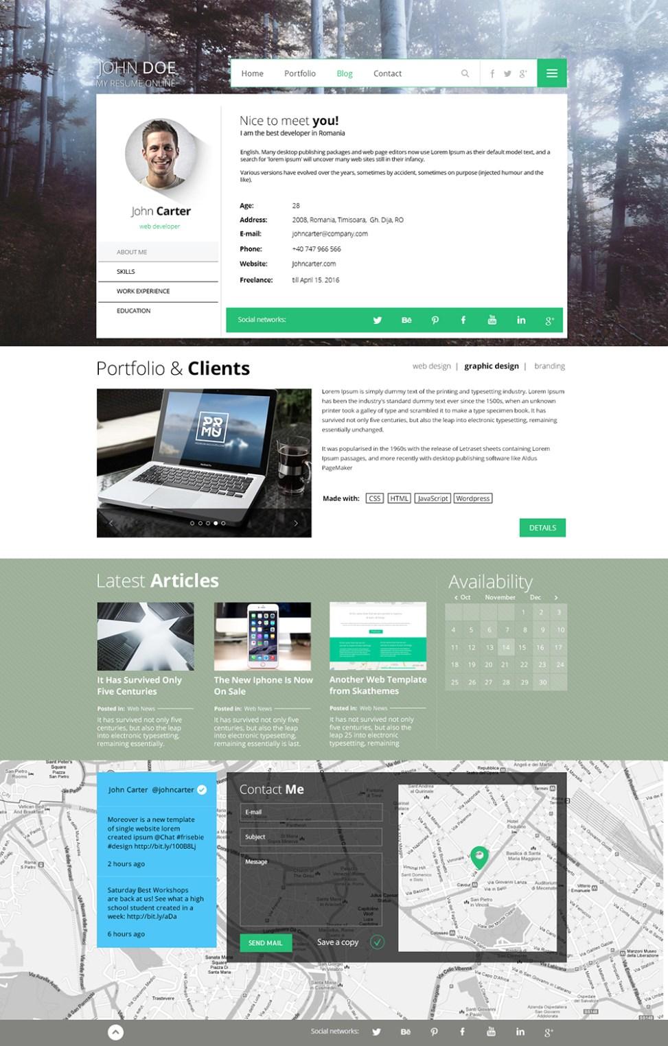 resume design full width