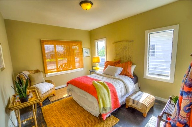 Bedroom with jalousie windows