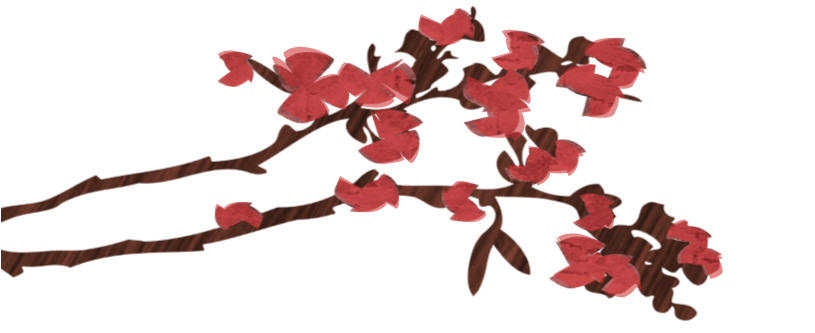 An illustrated branch with red flowers