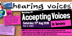 Poster for Accepting Voices Workshop on Saturday August 11, 2018