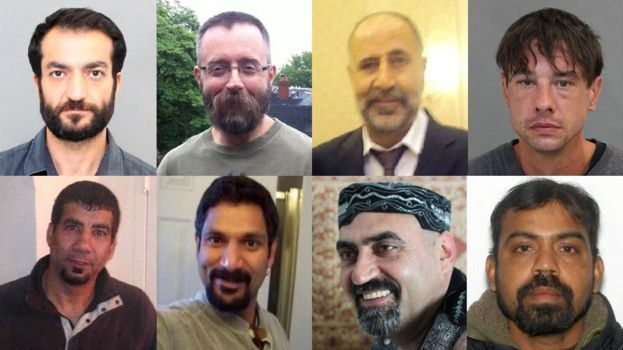 Bruce McArthur's victims. Top, from left to right: Selim Esen, Andrew Kinsman, Majeed Kayhan, and Dean Lisowick. Bottom, from left to right: Soroush Mahmudi, Skandaraj Navaratnam, Abdulbasir Faizi, Kirushnakumar Kanagaratnam.