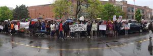 Parkdale Organize Fights Back with over fifty people in rain.