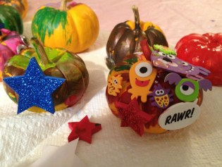 The younger kids had lots of fun painting and decorating little pumpkins!