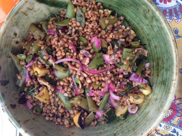 Wheat Berry Salad with Zucchini and Snap Peas