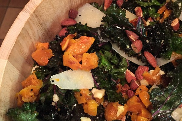 Kale Salad with Squash and Toasted Almonds