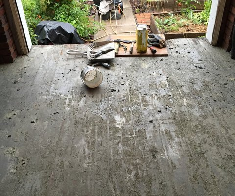 Porch Project: Black Tar and Some Paint Removed