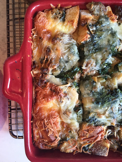 Christmas Breakfast Strata with Spinach and Sausage