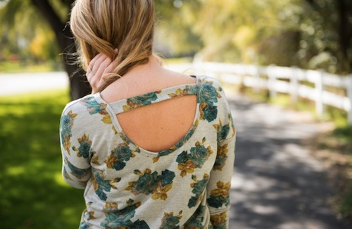 Floral Long Sleeve Scoop Back Top 2