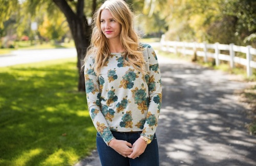 Floral Long Sleeve Scoop Back Top