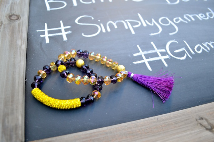 Love these Blaine Bowen purple and gold gemstone bracelets! Perfect for LSU gameday!