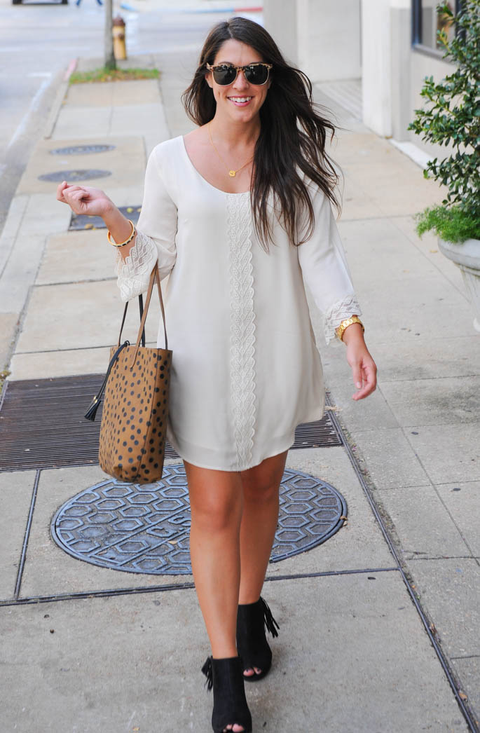 This cream dress from Nordstrom is perfect for fall layering! It can be styled so many ways or worn alone!