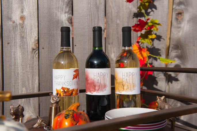 Free printable DIY Thanksgiving wine labels  by Blue Lemon Co