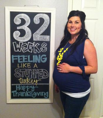 Baby Langston 32 weeks Pregnancy Chalkboard - Southern Made Blog