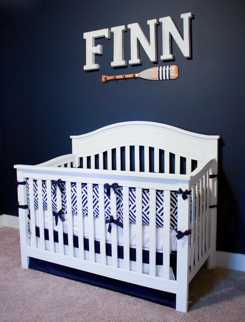 Nautical Nursery Reveal | Southern Made Blog | @baby_relax crib & oar available at @Target |Baby bedding via @carouseldesigns | Letters via @hobbylobby
