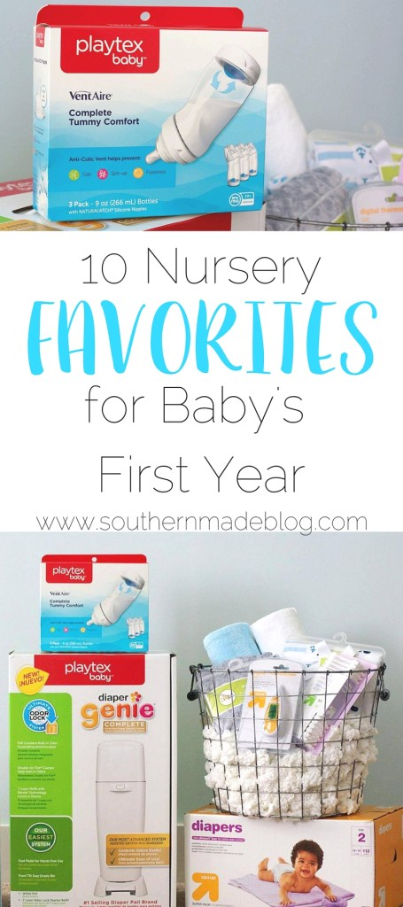 10 Nursery Favorites for Baby's First Year | Southern Made Blog Whether you're a pregnant and going to be a first time mom, a seasoned mama, or buying for one, these are my must haves that will get you through the entire first year with baby. @Target @PlaytexBaby #NurseryMusts #ad