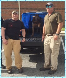 Many thanks to Darby Colvin (on left), K9 handler for Dooley County and evaluator for NNDDA. Scott Boatner on right and super star Buck is center stage!