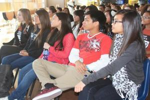 Seniors Reegan Gunter, Laura Nguyen, Ashley Tolentino, Jon Dulay and Nicole Brigola participate in Coyote Congress prior to the Class of 2013 meeting in September<br>Photo Credit: Elaine Wong