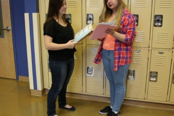 """Seniors Selma Mesic and Cassadie Medall discuss their PBL topic choice. """"I am so excited for this project! I am thrilled to finally be allowed to give my opinion,"""" Mesic said.  Photo Credit: Bree Eure"""