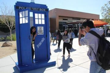 "Today, a familiar blue icon was seen in the quad area. Students such as Gabi Fernandez ('16) gathered near the TARDIS replica to take pictures and pose with friends. ""I love Doctor Who, so seeing the TARDIS in the quad made me so excited! It was really well done and made me think of all the adventures the Doctor has with his companion in the universe,"" Fernandez said."