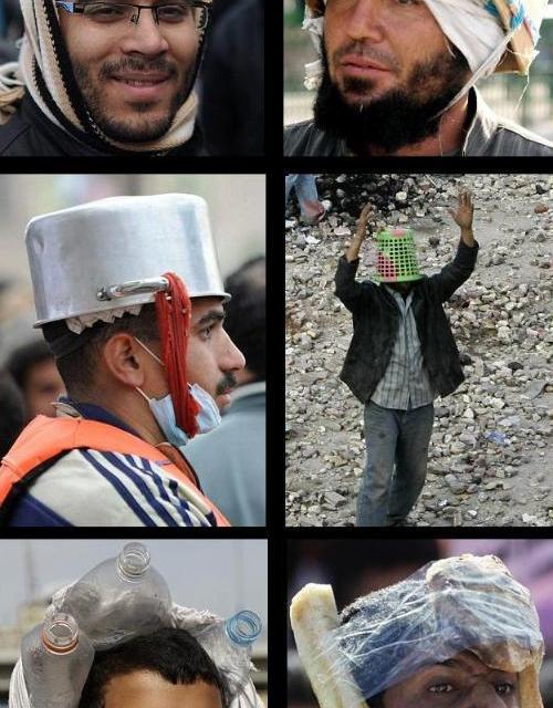 LOL: Cascos caseros en las protestas en Egipto