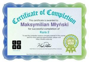 dyplom Maksymilian Młyński