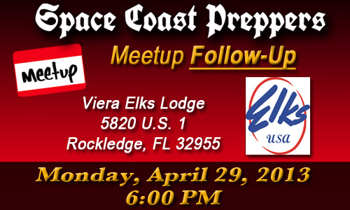 Space Coast Preppers April Meetup Folllow Up