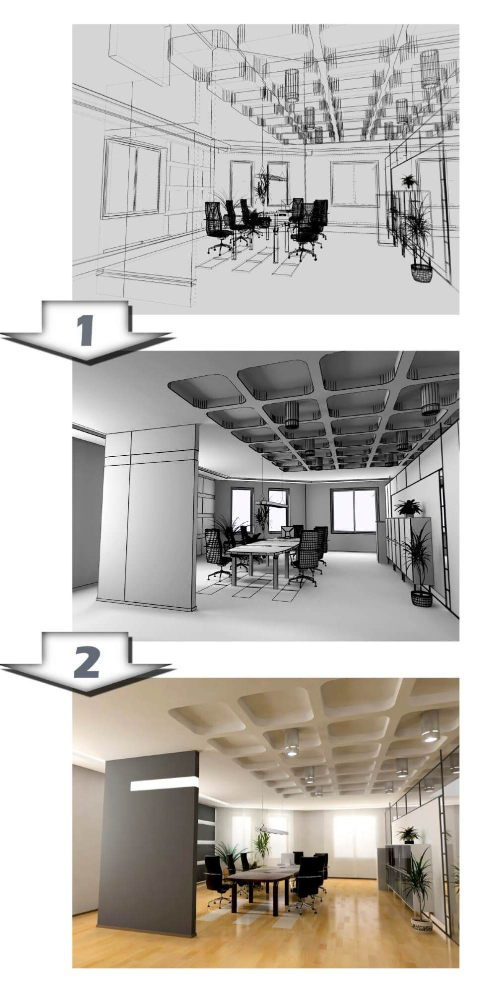 image showing office design process from sketch to CAD illustration and full graphic rendering
