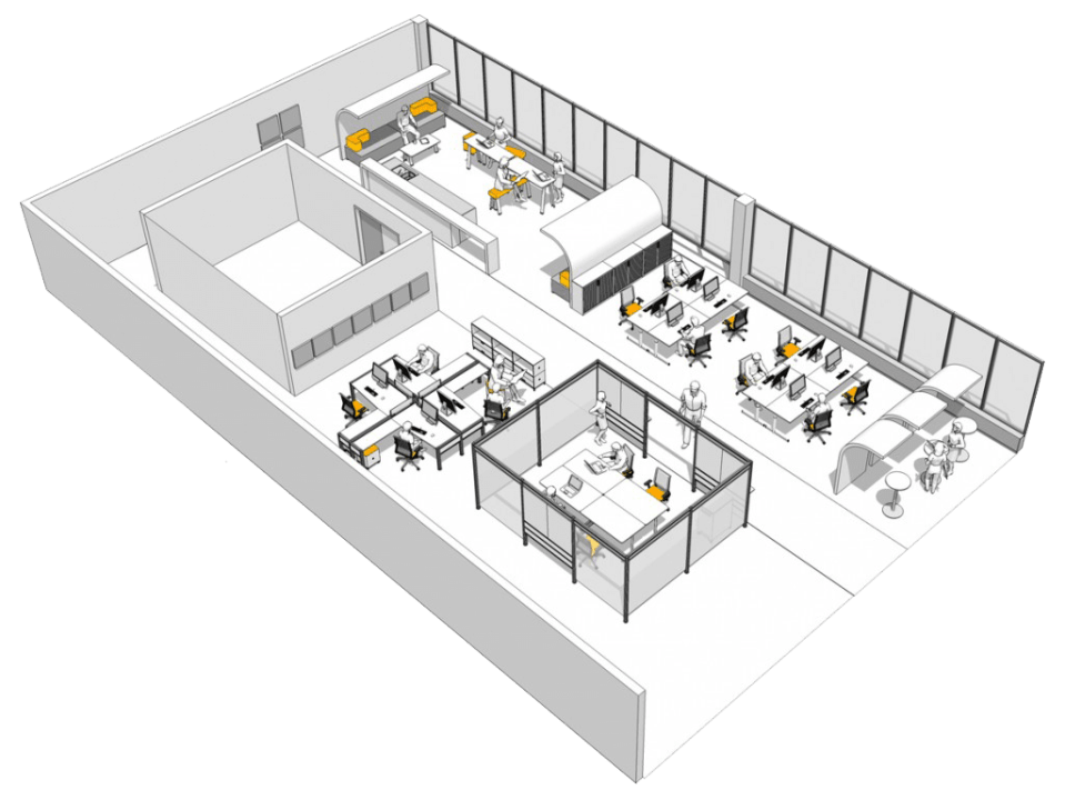 Image of office design concept through to build