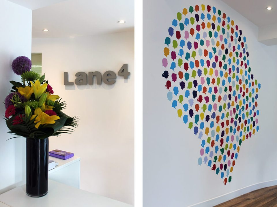 Image of Lane 4 office wall branding