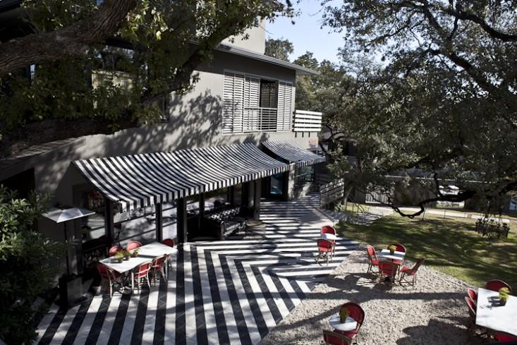 Overhead view of the outdoor patio Hotel Saint Cecilia Austin Texas
