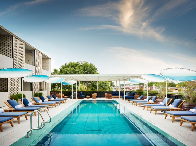 View of the Rooftop Pool at South Congress Hotel in Austin Texas