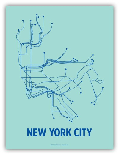 NYC Line Poster. Seafoam