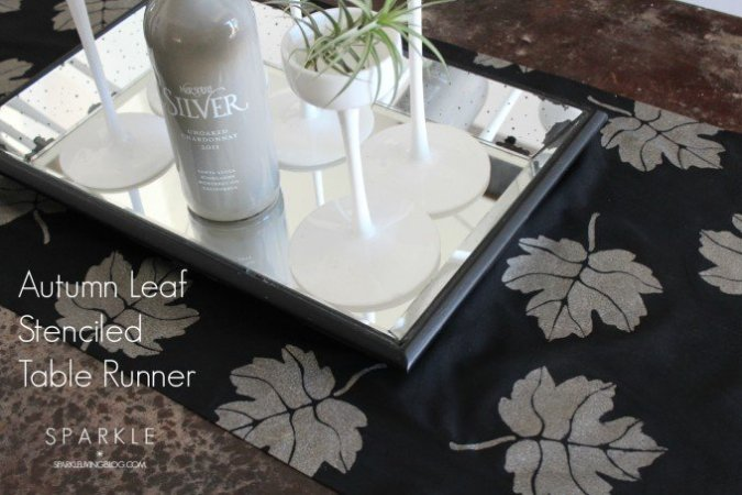 Autumn Leaf Stenciled Table Runner