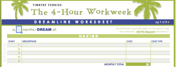 dreamline worksheet