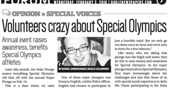 Volunteers crazy about Special Olympics (Column in the Bugle Newspapers)