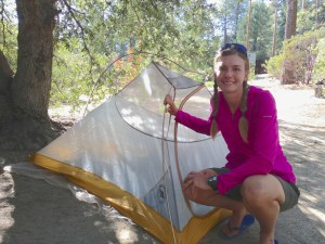 Sara Malm, a Pacific Crest Trail hiker, pitched her tent at an Idyllwild campground during a 'zero day.' Photo: Julie Pendray.