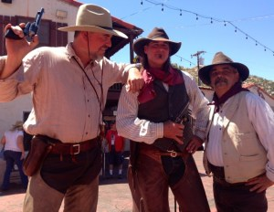 Left to right: Jim Rizor (Idyllwild), Steve Silkotch (Anza) & J. R. Hull (Austin, Tx) perform in this year's