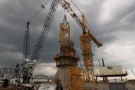 Tower Crane at Pier 5 of Ohio River Bridges Project as the erecting of the tower crane begins. #2