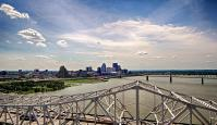Looking west over Louisville from 300 feet above the river on the tower crane at Pier 5.