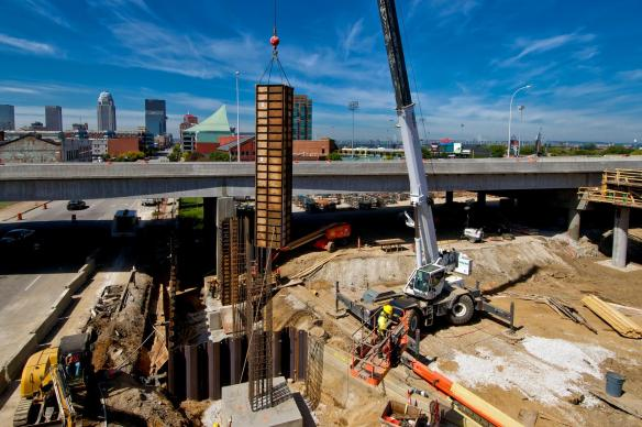 Crane Flying Column Form Into Place