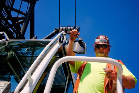 Todd Blankenbaker, crane operator, on the Ohio River Bridges Project.