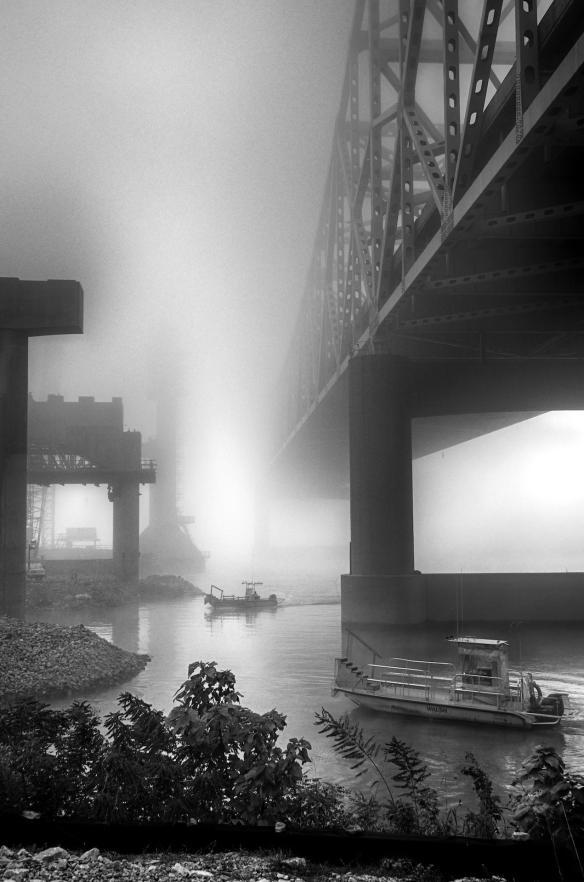 Morning fog blankets the Ohio River Bridges Project in Louisville, Kentucky.