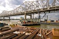 The first Edge Girder for the Downtown Span of the Ohio River Bridges Project is delivered by barge to Tower Five.