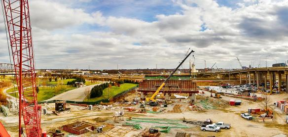 Panorama of the Ohio River Bridge Downtown Span's Kentucky Approach job site in Waterfront Park.