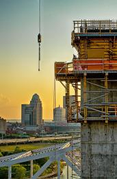 Carpenters placing concrete forms for the western tower of Tower Three of the Downtown Span of the Ohio River Bridges Project in Louisville, KY. #2