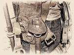 An ironworkers wrench and tool belt. #2 B&W Version