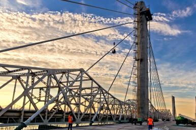 Sunset on the Downtown Span of the Ohio River Bridges Project, #2