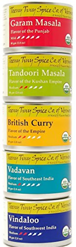 Teeny Tiny Spice Co. of Vermont Organic Indian Spice Blends Variety Pack, Five 2.8 Oz Tins