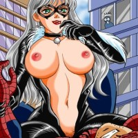 There are some things that can make Spidey to forget about MJ... and Black Cat's big naked boobs is one of them!